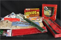 Frosty snow, foil garland, movies trivia game,