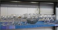 Punch bowl set, Bohemian crystal , shot glasses
