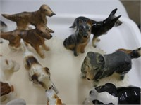 TRAY: APPROX. 25 MINIATURE CHINA DOGS
