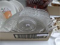 BOX: FRUIT DESIGN DESSERT SET, FISH PLATES ETC