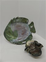 """15"""" POTTERY FISH PLATE & POTTERY BOWL"""