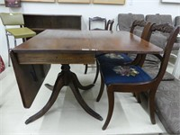 MED. FINISH DROP LEAF PEDESTAL TABLE W/DRAWER