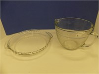 FIRE KING PIE PLATE & 8 CUP ANCHOR HOCKING BOWL