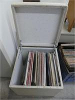 PADDED STORAGE OTTOMAN W/ R&R RECORDS