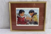 "Framed Inuit print signed Nori Peter 13.5 X 11"""