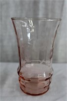 "Pink Depression glass tumblers 1 - 5"" and 2 - 4.5"""