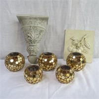 5 Candle holders, wall plaque and sconce