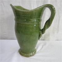 "10.5"" Pottery vase twisted handle"