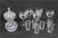 Wine glasses, shot glasses, covered candy dish and