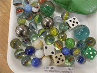 TRAY: ASSORTED GLASS MARBLES