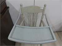 ANTIQUE PAINTED PRESS BACK HIGH CHAIR