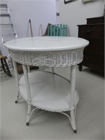WHITE PAINTED WOOD/WICKER OVAL TABLE