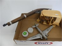 BOX: WOODEN MODELS, CAP GUN, ETC.