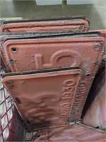 CRATE: APPROX. 38 BARN DOOR LICENSE PLATES