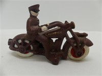 "5"" CAST IRON MOTORCYCLE W/RIDER"