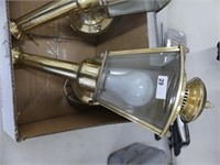 PAIR: BRASS ELECTRIFIED WALL SCONCES