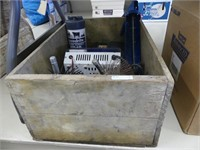 WOOD BOX W/ELECTRIC FENCERS, BATTERY CHARGER,