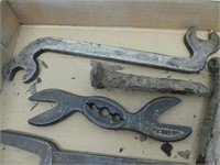 TRAY: ANTIQUE WRENCHES & RAIL SPIKES