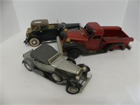 BOX: 3 WOODEN & PLASTIC MODEL CARS