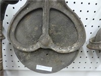 """8"""" CAST IRON & WOODEN PULLEY"""