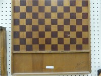 WOODEN CHECKERS/CHESS BOARD