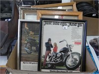 BOX: ASSORTED MOTORYCLE FRAMED ADVERTISEMENTS