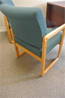 Pair of Wood Frame Fabric Upholstered Chairs