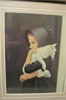 Framed Art Print of Amish Girl w/ Cat
