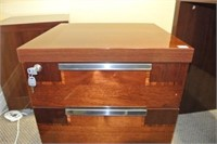Lacquered Finish Wooden File Side Cart