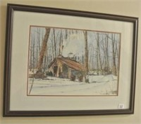 Canadian Winter Log Cabin Framed Print