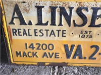 Old A. Linsell Co. Metal Sign