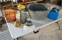 Wash Tub with Oil Cans, Fuel Can