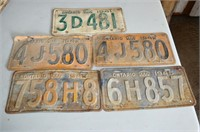 (5) License Plates from 1940's