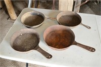 (2) Cast and (2) Steel Fry Pans