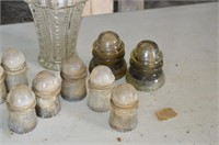 Tray of Glass Insulators and Vase