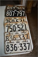 (6) License Plates from 1960's