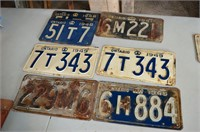 (7) License Plates from 1940's