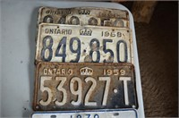 (5) License Plates from 1950's & 70's