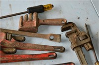 Box of Assorted Tools, Pipe Wrenches, etc.