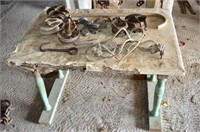 Old Wooden Table with Assorted Pulleys