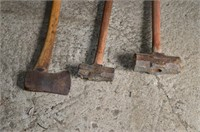 Axe and (2) Sledge Hammers