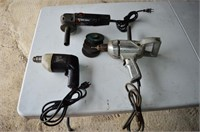 Black and Decker Angle Grinder and (2) Drills