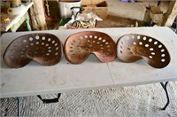 (3) Tin Tractor Seats