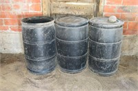 (3) Black Poly Barrels