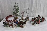 Christmas village, bridge, trees, horse and sleigh