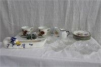 Cups and saucers, peanut dishes, Mountie salt and