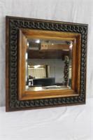 "Framed bevelled mirror 17 X 17"" (some distortion"