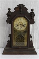 Carved cabinet mantel clock (no key or pendulum)