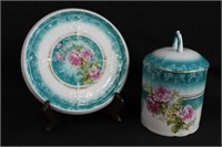 """Three Crown china Germany 5.5"""" covered jar and"""