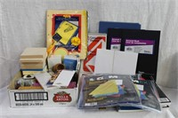 Post it notes, rulers, paper clips, note pads,